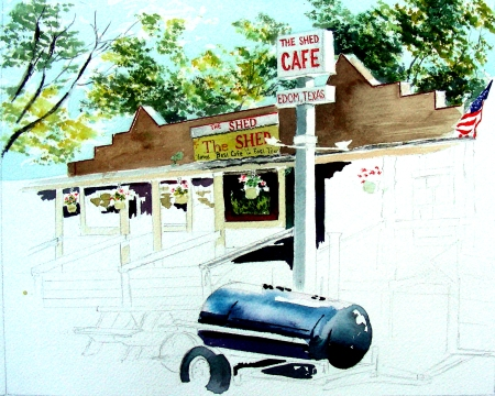 Edom Shed Cafe Watercolor in Progress