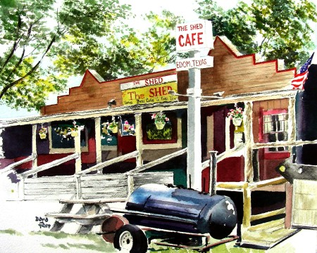 Completed Watercolor of The Shed Cafe--Edom, Texas