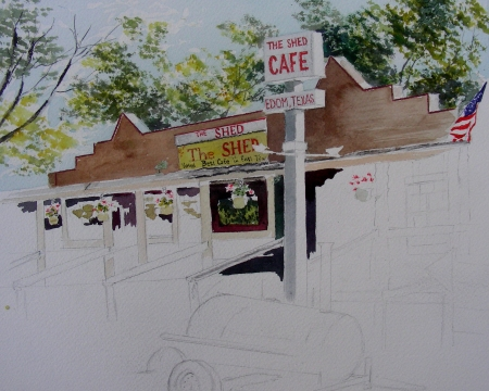 Beginning Watercolor of The Shed Cafe.  Edom, Texas
