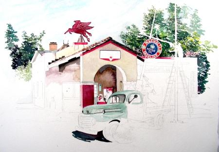 Gas Station Watercolor in Progress