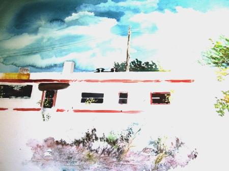 The demo watercolor in progress