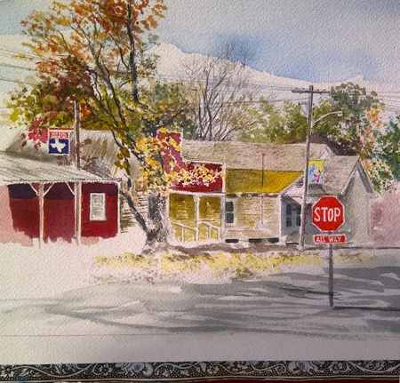Plein Air Watercolor Sketch of the Edom Business District