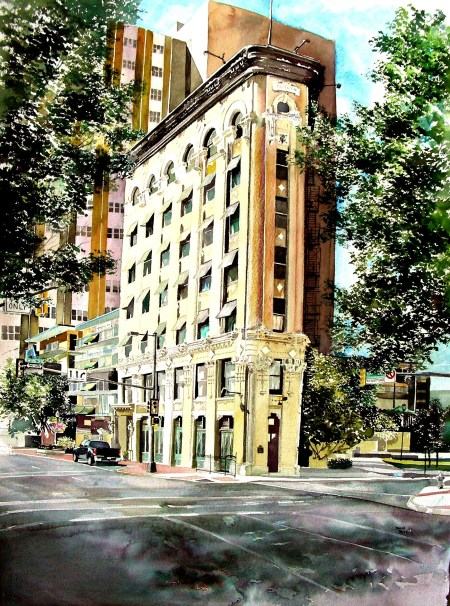 Watercolor of Fort Worth Flatiron Building Just Sold