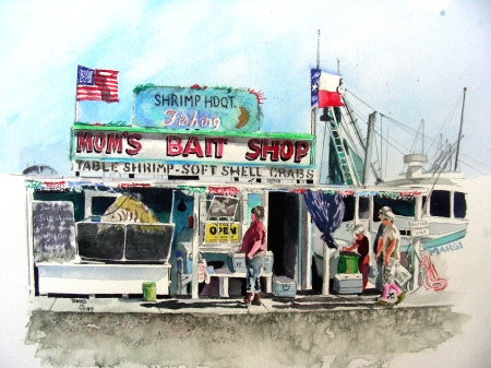 Completed Bait Shop Watercolor