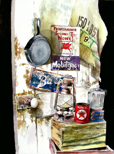 "Inside the Texaco Station (22 x 28"" framed watercolor)"