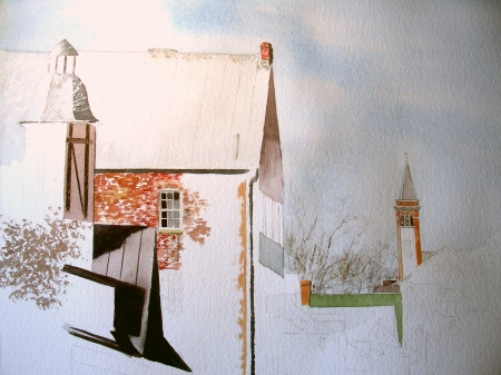 Hermann, Missouri--watercolor in progress