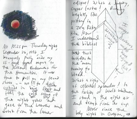 Journal drawing from 1996 viewing of lunar eclipse
