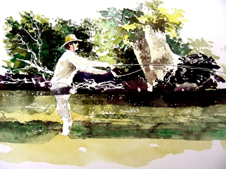 Small Watercolor Sketch of a Fly Fisherman
