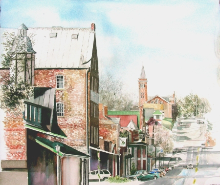 Nearly Finished With This Watercolor of Hermann, Missouri