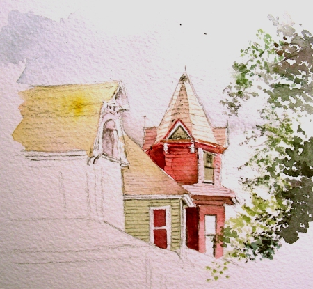 Quick Sketch of a Victorian House after a Long Work Day