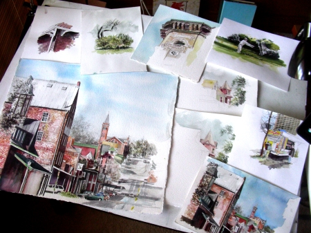 Piles of Watercolor Projects