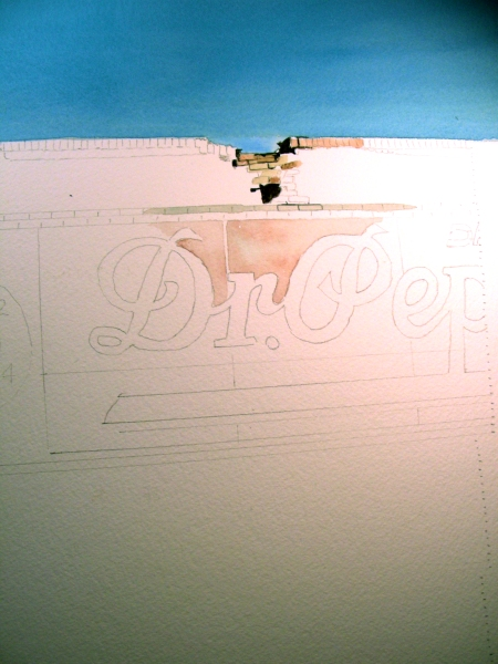 Beginning of a Large Ghost Sign Watercolor