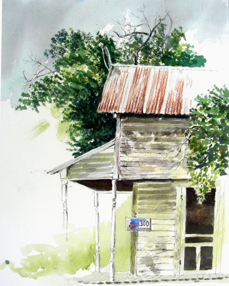 Plein Air Watercolor Sketch of Closed Lumberyard in Ferris, Texas