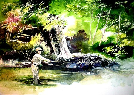 Poured Watercolor of Myself Flyfishing in South Fork, Colorado