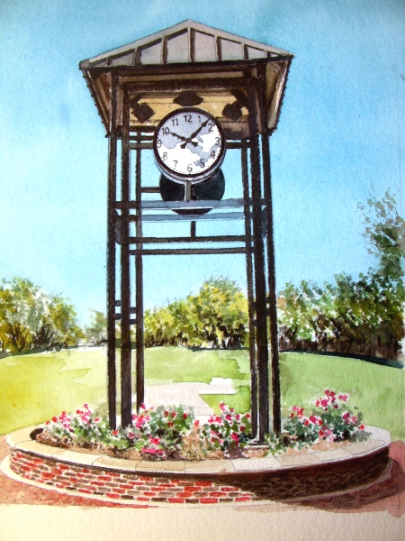 Completed Watercolor of the Kennedale, Texas Clock Tower