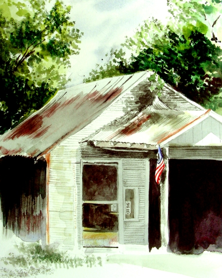 Second Attempt at Plein Air Painting the Abandoned Gas Station
