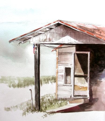 Plein Air Sketch of a Former Gas Station in Ovilla, Texas