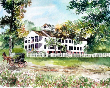 Completion of the Historic Louisiana Home in Watercolor