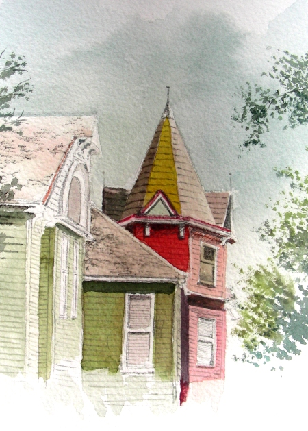 """Second 5 x 7"""" watercolor sketch of Weatherford's Angel's Nest"""