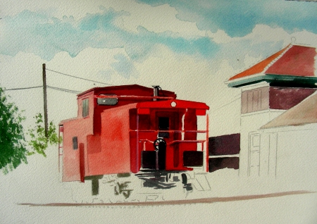 Beginning of a Small Studio Painting of a Caboose in Waxahachie, Texas