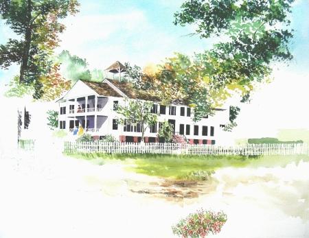 "18 x 24"" Watercolor of Historic Louisiana Home"