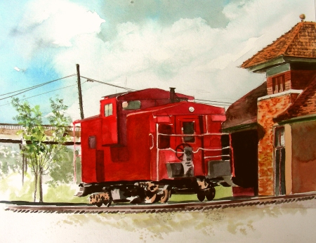 Re-touched Waxahachie Caboose Plein Air Sketch