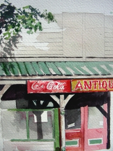 Small Watercolor of Abandoned Store in Winfield, Missouri