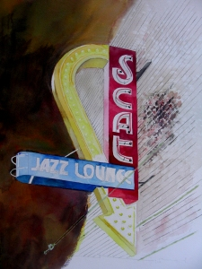 Large Watercolor in Progress of Fort Worth's Scat Jazz Lounge