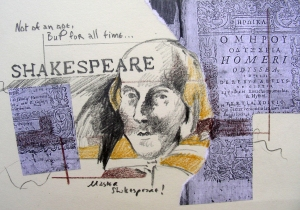 Small Shakespeare Drawing and Collage