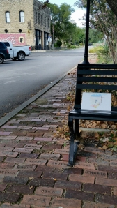 Hico, Texas bench with watercolor and the view