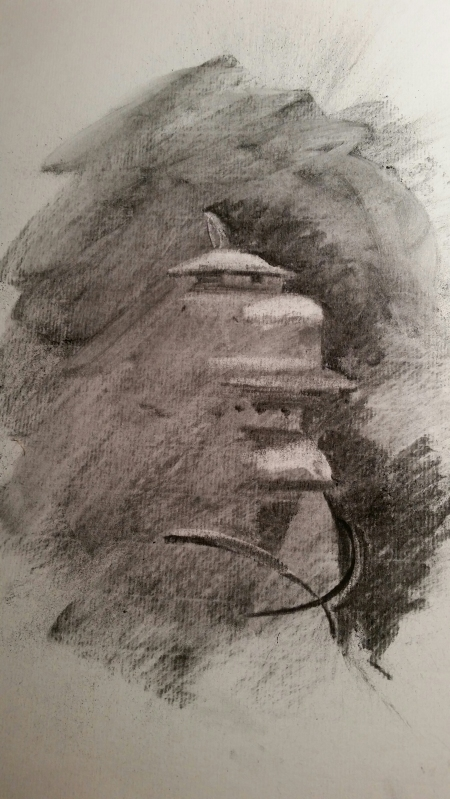 Charcoal erasure drawing