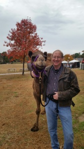 Posing with Godiva at Christmas in the Village