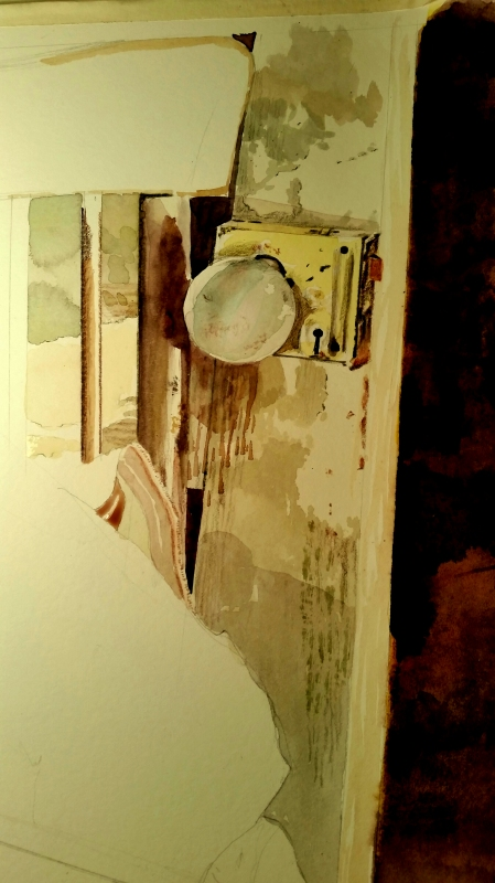 Detailing a Small Portion of the Still Life Watercolor