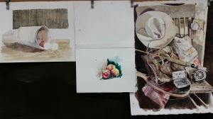 Three Watercolors in Progress