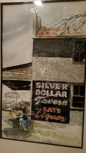 An old watercolor of myself playing guitar outside the Silver Dollar Tavern