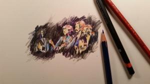 Quick Sketch of Crosby, Stills, Nash & Young