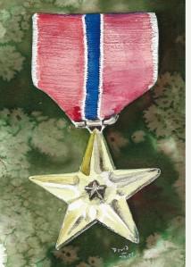 Watercolor of Dad's Bronze Star