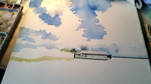 Laguna Madre Painting in Progress