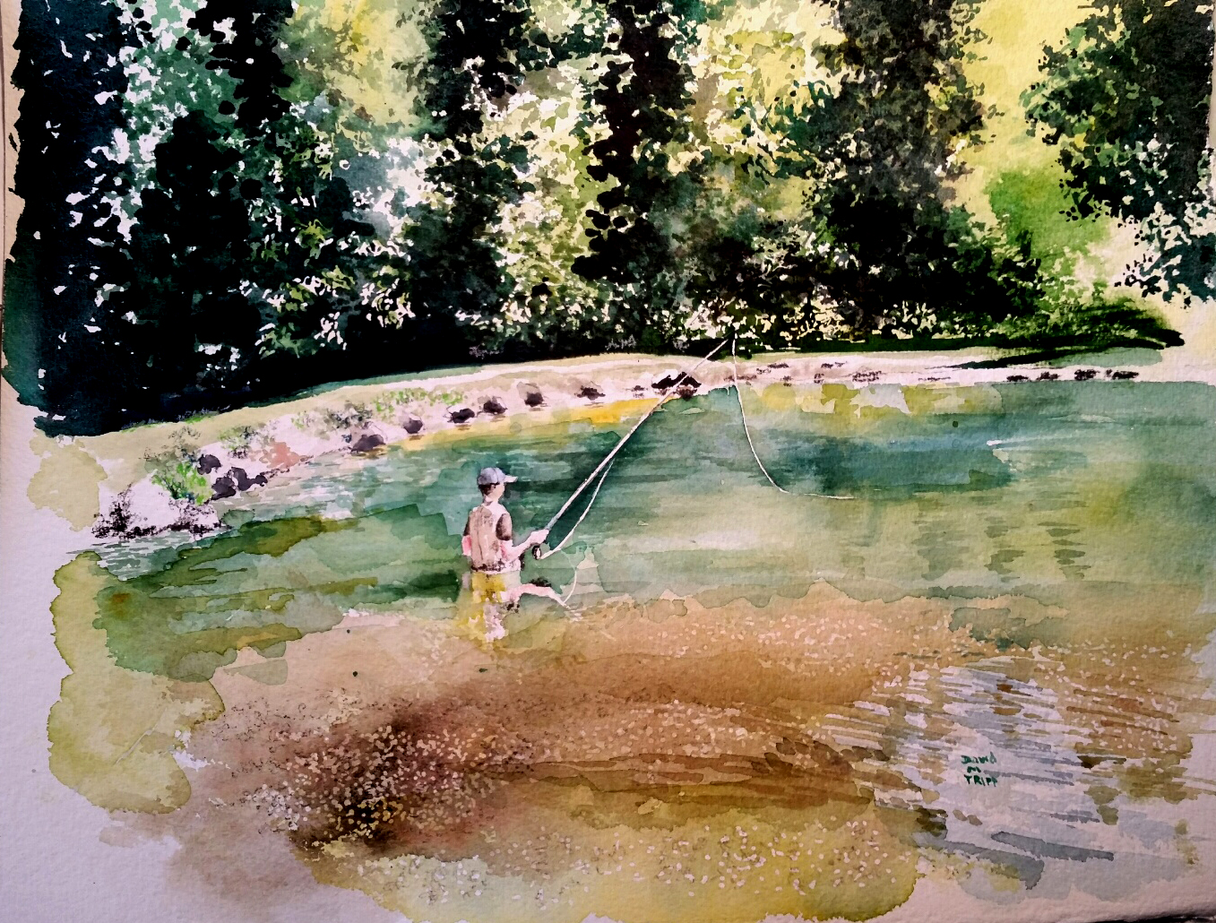 fly fishing watercolor photoshopped